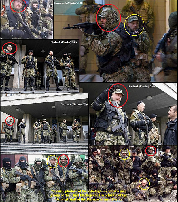"A set of photos distributed by Ukraine's government to the OSCE purports to show Russian special forces deployed in eastern Ukraine, and also identified in an alleged ""family photo"" of the special forces ""sabotage-reconnaissance group"""