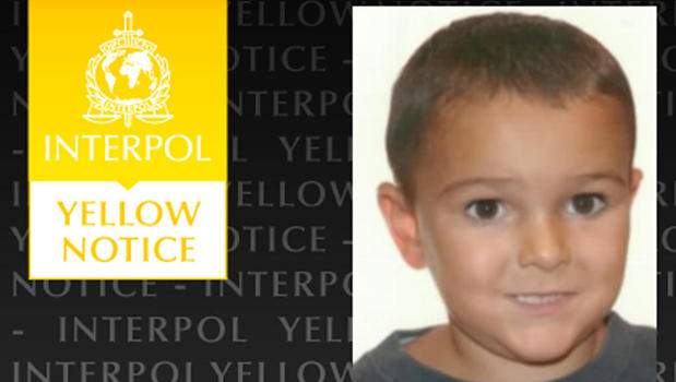 """An official Yellow Notice issued by Interpol requesting information on the whereabouts of Ashya King, who was at that time deemed """"missing"""" by British authorities"""
