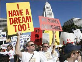 Demonstrators turn out for marriage equality at Los Angeles City Hall