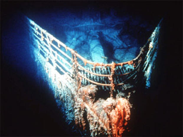 The bow of the Titanic at rest on the bottom of the North Atlantic, 400 miles southeast of Newfoundland. A new expedition to the famed ship will create the most detailed three-dimensional map of the wreck to date.