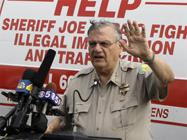 Maricopa County Sheriff Joe Arpaio announces his plans for a crime suppression sweep in Phoenix on Thursday, July 29, 2010.