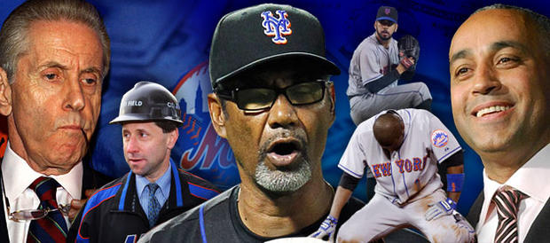 Fred Wilpon, Jeff Willpon, Jerry Manuel, Oliver Perez, Luis Castillo and Omar Minaya