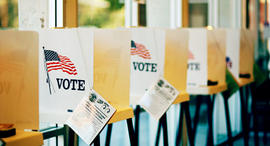 vote, voting booth, votes, election, ballot box, ballots, flag, america, american, generic, stock