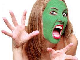 ugly, face, mask, skin, green, woman, generic, stock