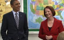 """Great mates"" Obama & Australian PM make school visit"