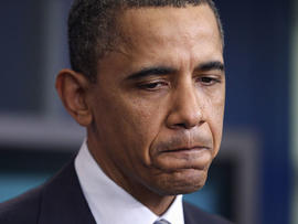 President Barack Obama pauses while speaking about the possible government shutdown, April 5, 2011, at the White House in Washington.