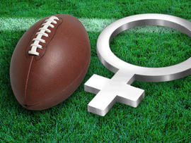 Football and Female symbol