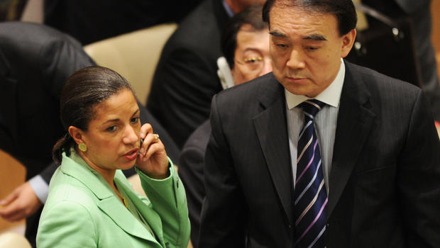 U.S. Ambassador to UN Susan Rice and China's Ambassador Li Baodong