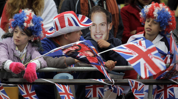 Crowds gather for the royal wedding
