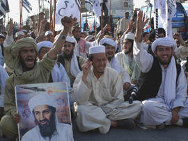 Supporters of Pakistani religious party Jamiat Ulema-e-Islam rally to condemn killing of Osama bin Laden in Quetta, Pakistan