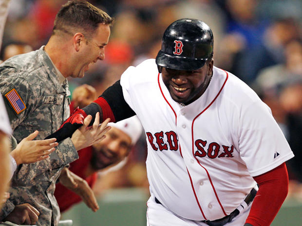 David Ortiz congratulated by U.S. Army Rangers Sgt. Lucas Carr
