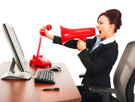 angry boss, manager, woman, screaming, blowhorn, stock, office, working, red phone, megaphone, yelling, 4x3