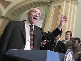Sen. Harry Reid addresses reporters on Capitol Hill