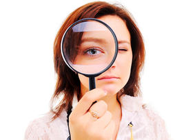 woman, magnifying glass, inspecting, eye, female, test, stock, 4x3