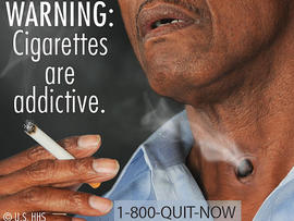 This image provided by the U.S. Food and Drug Administration on Tuesday, June 21, 2011 shows one of nine new warning labels cigarette makers will have to use by the fall of 2012.