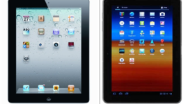 Photos of the Galaxy Tab and iPad 2 in an Apple court document show the two tablets as similar in appearance.