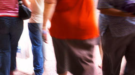 overweight, fat, obese, people, group, walking, streets, urban, city, america, stock, 4x3