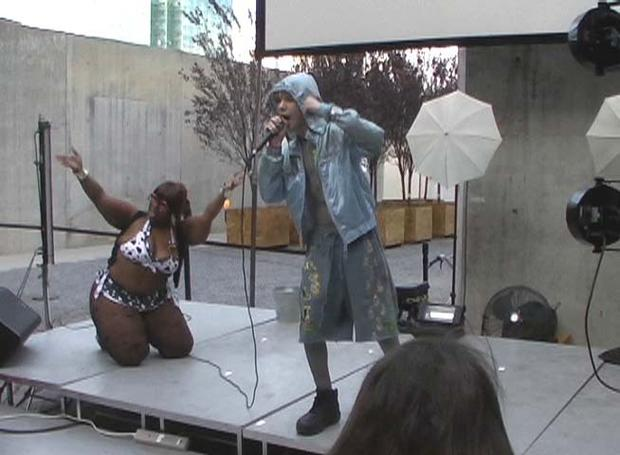 Glass Popcorn, aka Will Neibergall, 15, of Tempe, Arizona, performs at MoMA PS1 in Queens, NY