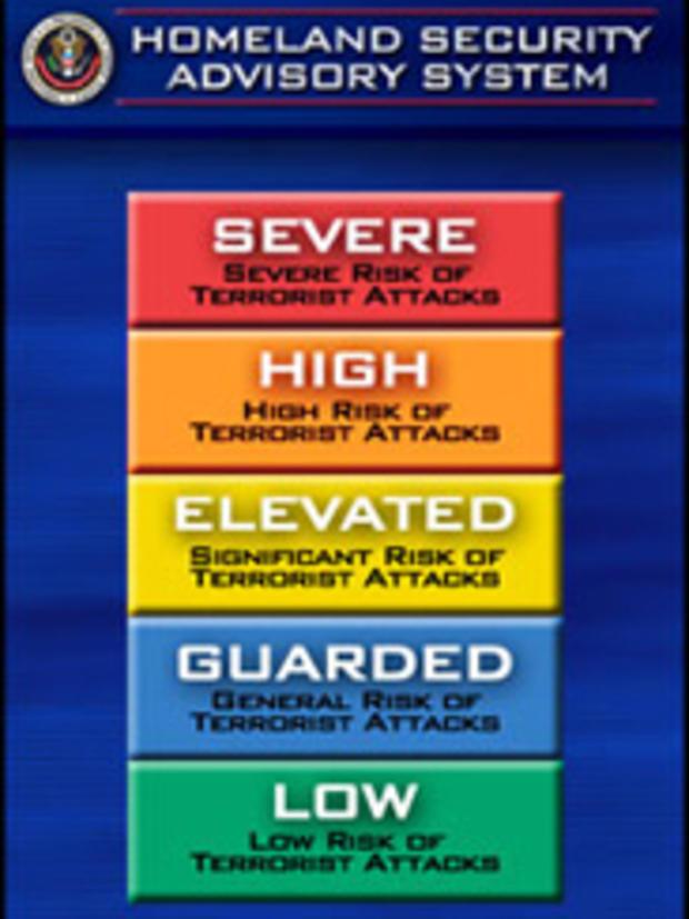 美国国土安全部曾使用彩色编码的咨询系统向公众通报国家威胁等级。