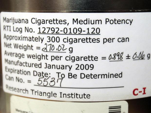 Label on federally distributed marijuana cigarettes