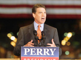 Republican presidential candidate, Texas Gov. Rick Perry speaks about energy and environmental regulations at the United States Steel Mon Valley Works Irvin Plant in West Mifflin, Pa., Friday, Oct. 14, 2011