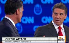 Perry, Romney face off in fiery GOP debate