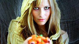 halloween, giving candy, creepy, spooky, witch, trick or treat, trick-or-treat, october, stock, 4x3