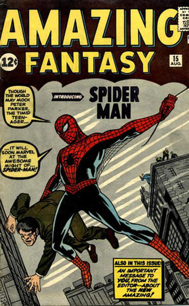 "A rare Spider-Man comic book, ""Amazing Fantasy No. 15,"" is the first appearance of Spider-Man and sold for 12 cents in 1962."