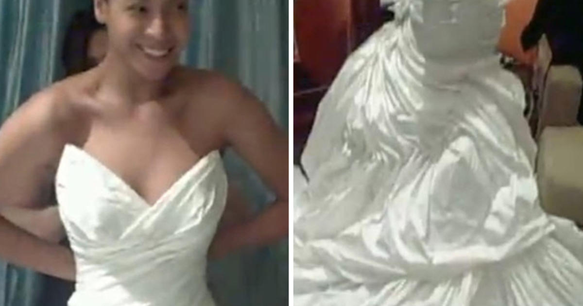 Beyonce 39 s wedding gown finally revealed cbs news for Beyonce wedding dress pictures