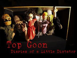 "Puppet characters from ""Top Goon: Diaries of a Little Dictator."" Syrian President Bashar Al-Assad is on the right."