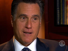 Republican presidential hopeful Mitt Romney is seen in an interview with CBS News, Dec. 14, 2011.