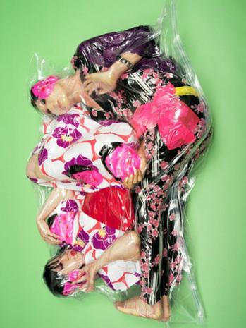 Bizarre shrink-wrapped art amazes