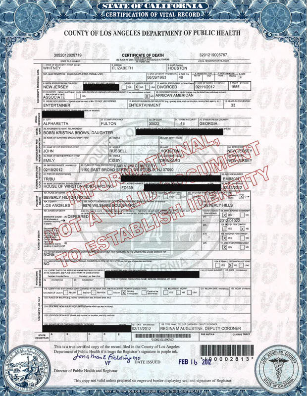 Whitney houston death certificate no cause of death listed cbs news