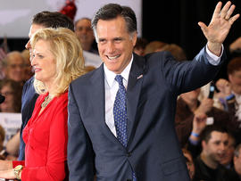 Former Massachussetts Gov. Mitt Romney waves to supporters during a primary night gathering at the Suburban Collections Showplace Feb. 28, 2012, in Novi, Mich.
