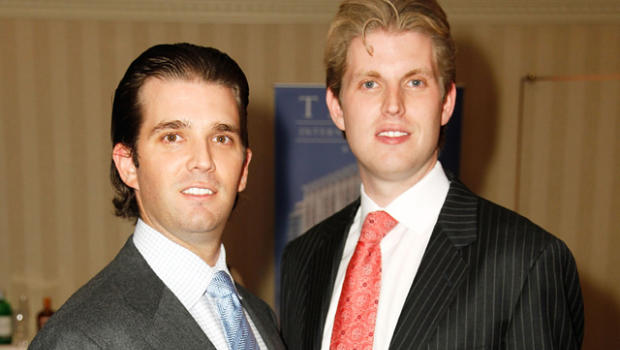 Donald Trump Jr., left,and Eric Trump attend a preview of the Trump ...