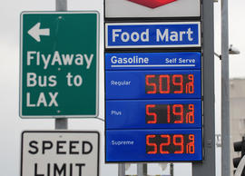Prices posted at a gas station in downtown Los Angeles where gas is selling for over five dollars a gallon on March 16, 2012 in California. The average price for a gallon of self-serve regular gasoline in Los Angeles County dropped today for only the second time in 39 days, according to figures from the AAA and Oil Price Information Service. AFP PHOTO/Frederic J. BROWN (Photo credit should read FREDERIC J. BROWN/AFP/Getty Images)