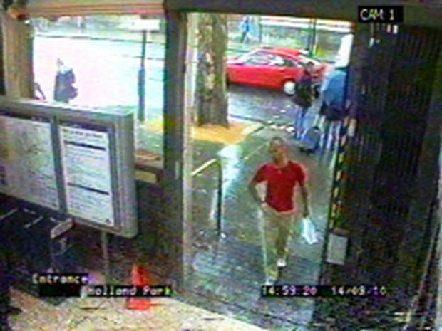 CCTV image issued by the London Metropolitan Police made available Thursday April 26, 2012, showing Gareth Williams at Holland Park Tube station in London on August 14 2010.