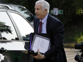 Former Penn State University assistant football coach Jerry Sandusky arrives at the Centre County Courthouse in Bellefonte, Pa., June 20, 2012.