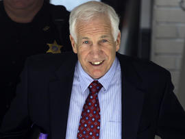 Former Penn State assistant football coach Jerry Sandusky leaves the Centre County Courthouse in Bellefonte, Pa., June 20, 2012.