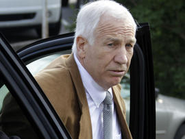 Former Penn State assistant football coach Jerry Sandusky arrives at the Centre County Courthouse in Bellefonte, Pa., June 22, 2012.