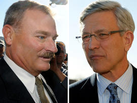 Former Penn State vice president Gary Schultz, left, and former athletic director Tim Curley are seen Nov. 7, 2011, in Harrisburg, Pa., in in this combo picture.