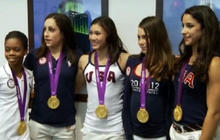 """""""Fierce Five"""" gymnasts light up Empire State"""