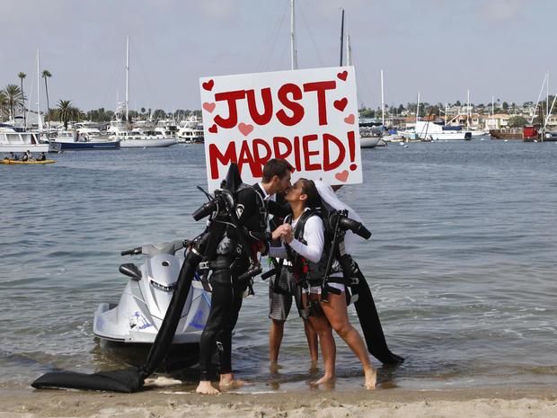 California couple's jet pack wedding