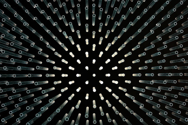 Sculpture made from recycled solar tubes