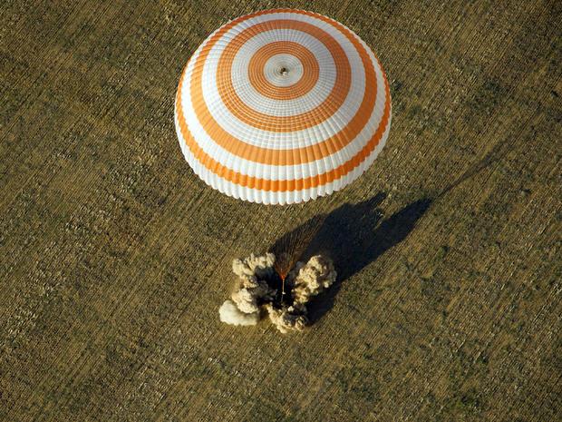 Soyuz TMA-04M spacecraft lands in a remote area near the town of Arkalyk, Kazakhstan