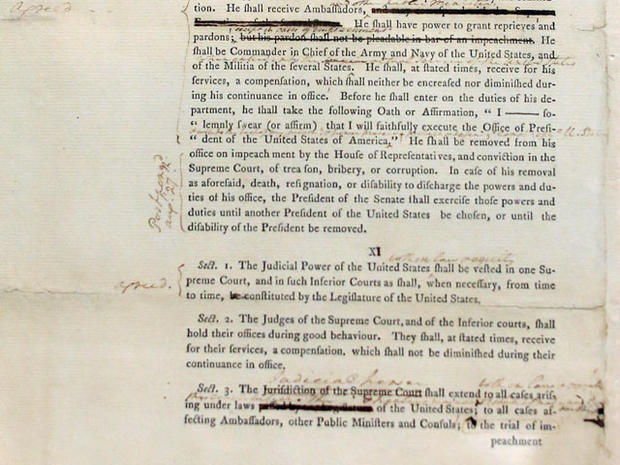 Washington's copy of U.S. Constitution