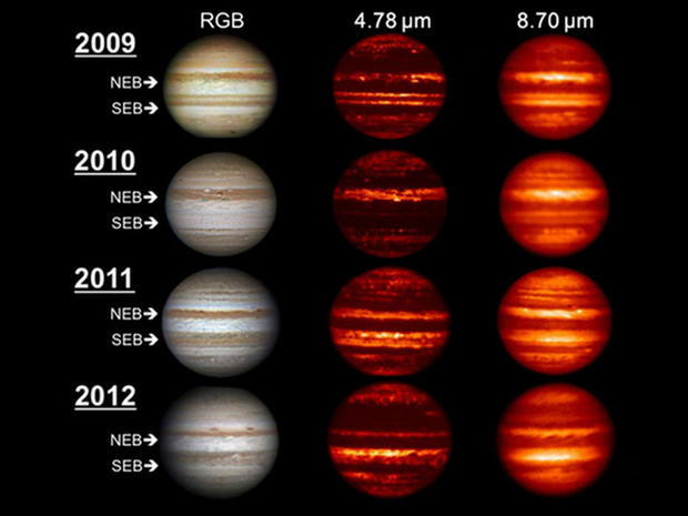 Images in the visible-light and infrared parts of the spectrum highlight the massive changes roiling the atmosphere of Jupiter. The visible-light images on the left were obtained by amateur astronomers.