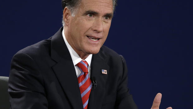 Republican presidential nominee Mitt Romney answers a question during the third presidential debate at Lynn University, Monday, Oct. 22, 2012, in Boca Raton, Fla.