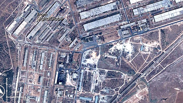 This satellite image shows one of Syria's two dozen chemical weapons bases. U.S. monitoring of these bases indicates the Assad regime has begun preparing chemical weapons use.