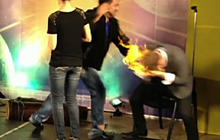Magician set on fire on live TV